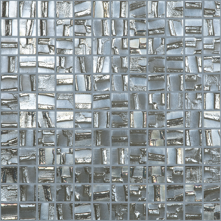 Ceramica Textured Nickel Glass Mosaic Square Indoor Outdoor Wall Tile