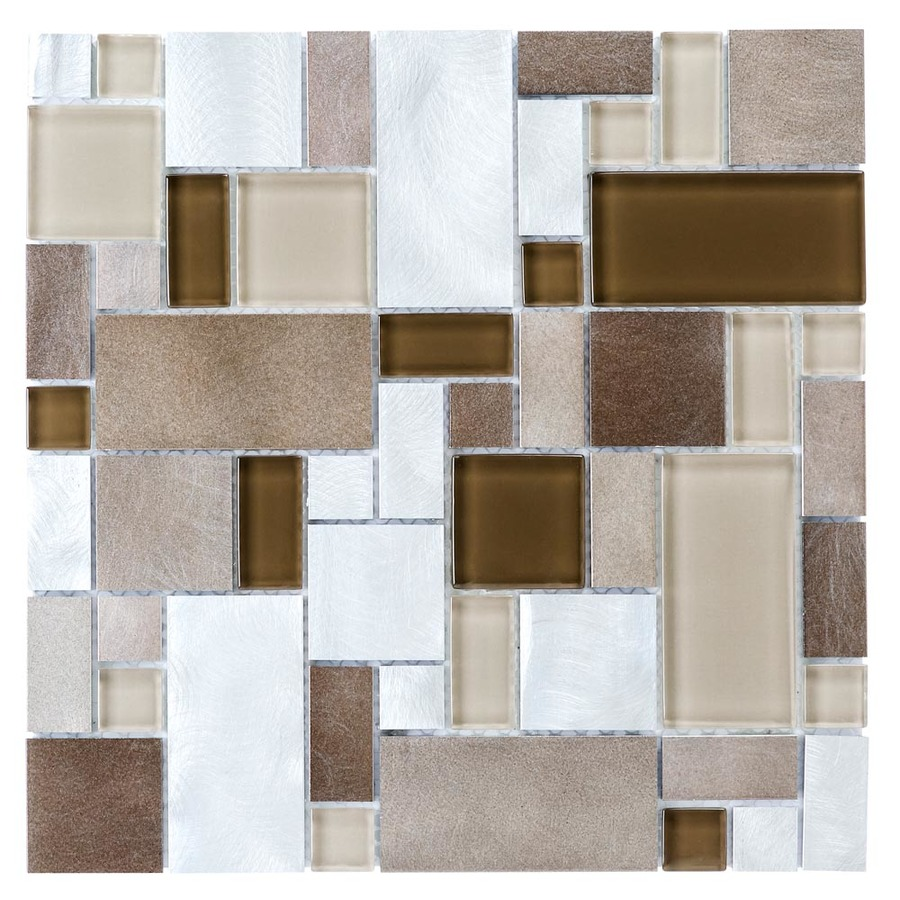 Shop Allen Roth Metal Elements Beige Glass And Metal