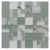 allen + roth Volcanic Laser Pewter Mosaic Glass Wall Tile (Common: 12-in x 12-in; Actual: 11.75-in x 11.75-in)