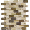 Elida Ceramica 1 Melted Earth Brick Mosaic Glass Wall Tile (Common: 12-in x 12-in; Actual: 10.75-in x 13-in)