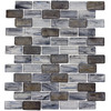 Elida Ceramica Melted Glacier Blue Gray Subway Mosaic Glass Wall Tile (Common: 12-in x 12-in; Actual: 10.75-in x 13-in)