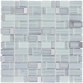 Display Product Reviews For Silver Windows Staggered Mosaic Glass And Metal Wall Tile Common