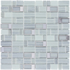 Elida Ceramica Windows Silver Mosaic Glass and Metal Wall Tile (Common: 12-in x 12-in; Actual: 11.75-in x 11.75-in)
