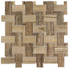 Elida Ceramica Wooden Weave Beige Basketweave Mosaic Porcelain Wall Tile (Common: 12-in x 12-in; Actual: 11.4-in x 11.4-in)
