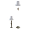 Portfolio 63-in 3-Way Switch Brushed Nickel Indoor Floor Lamp with Fabric Shade