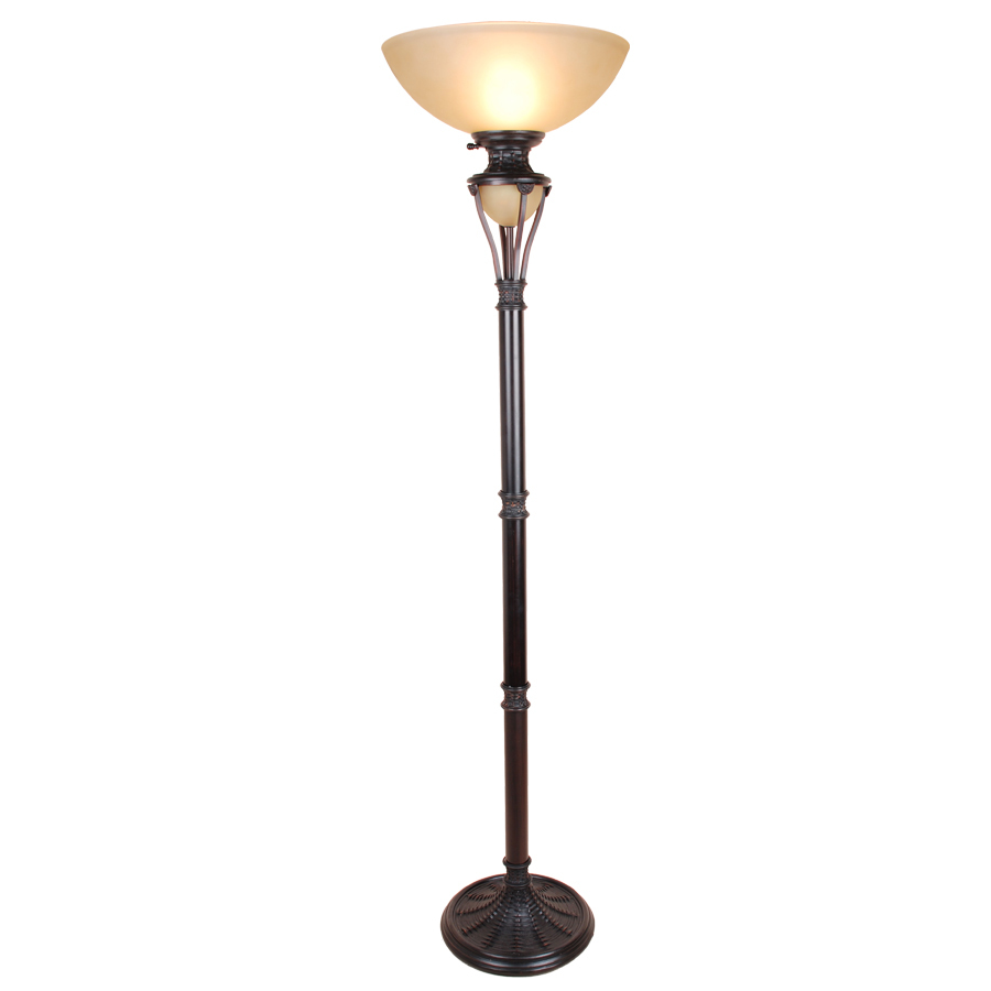 73 in bronze torchiere indoor floor lamp with glass shade at. Black Bedroom Furniture Sets. Home Design Ideas