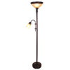 allen + roth 71.5-in Oil-Rubbed Bronze Finish Standard Torchiere Indoor Floor Lamp with Glass Shade