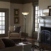 allen + roth 73-in Bronze Standard Torchiere Indoor Floor Lamp with Glass Shade