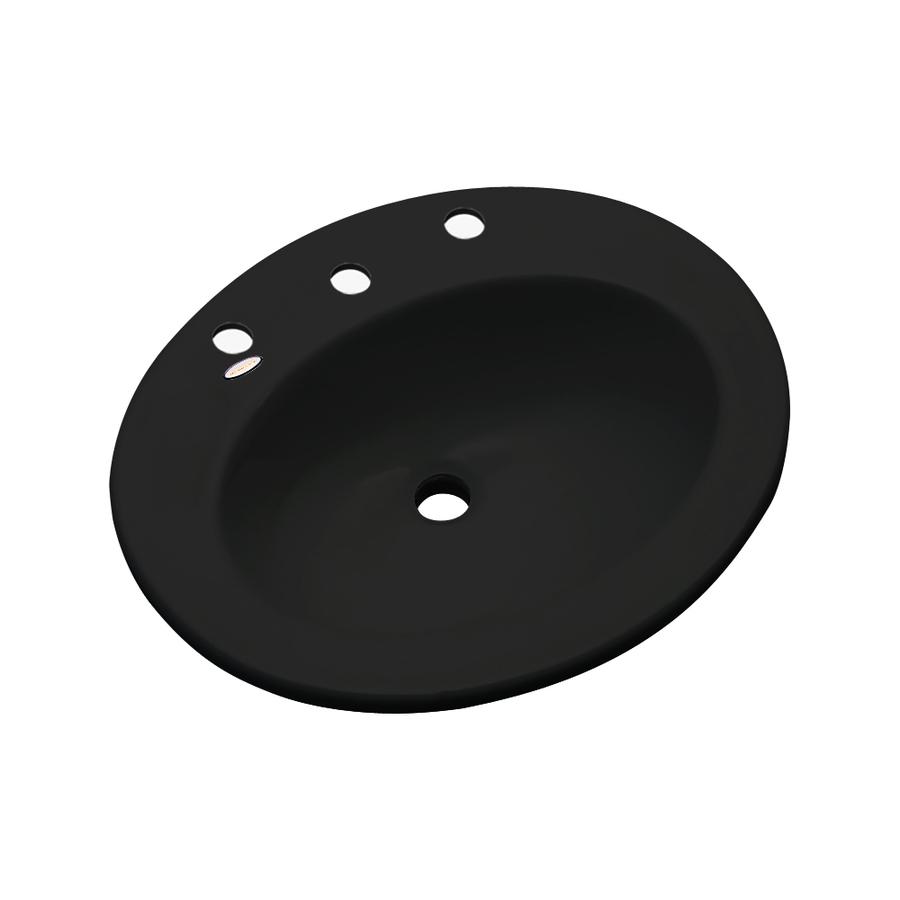 Shop Dekor Belmont Black Composite Drop-In Oval Bathroom Sink with ...
