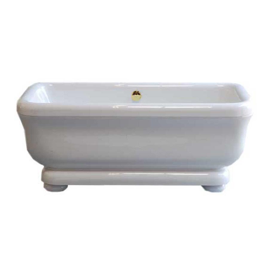 Sign of the Crab Windemere White Acrylic Rectangular Pedestal Bathtub ...