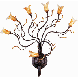 Pyramid Creations Evolution 30-in W 7-Light Rustic Bronze Arm Hardwired Wall Sconce