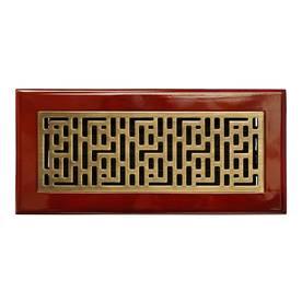 Accord 4-in x 10-in Antique Brass Steel Floor Register