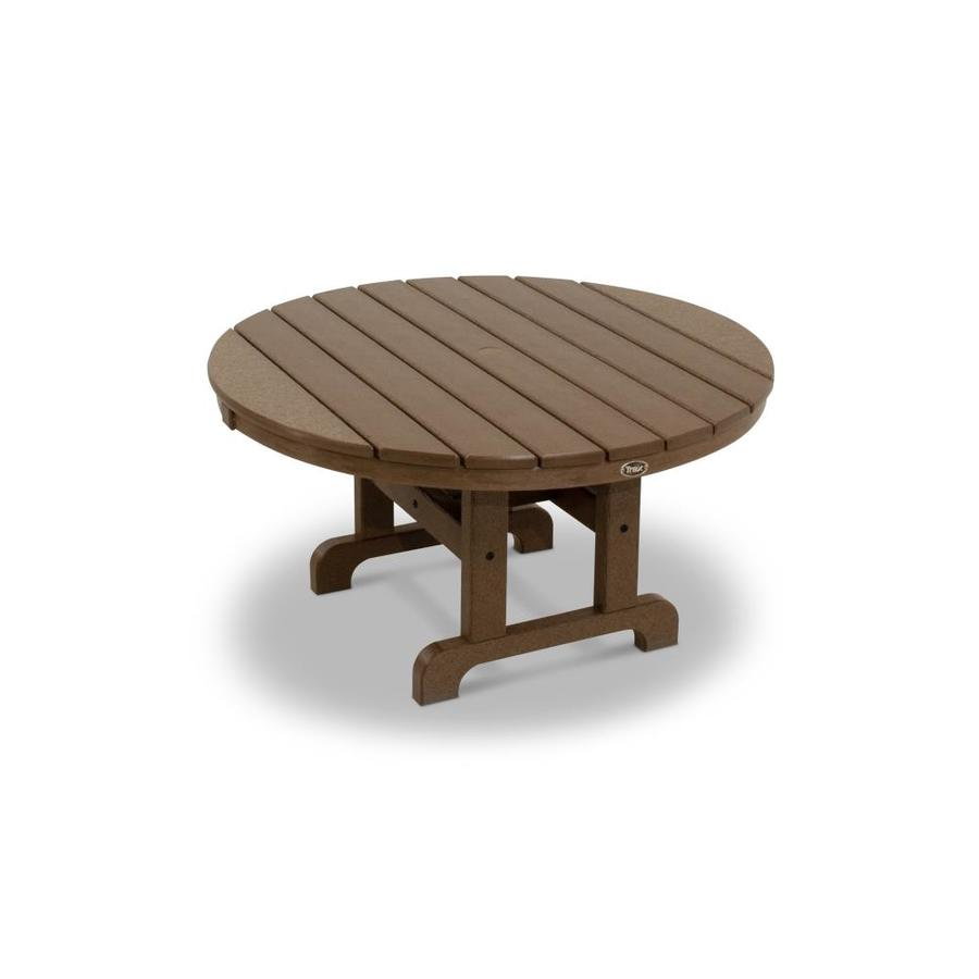 Shop trex outdoor furniture cape cod plastic round patio for Patio furniture table