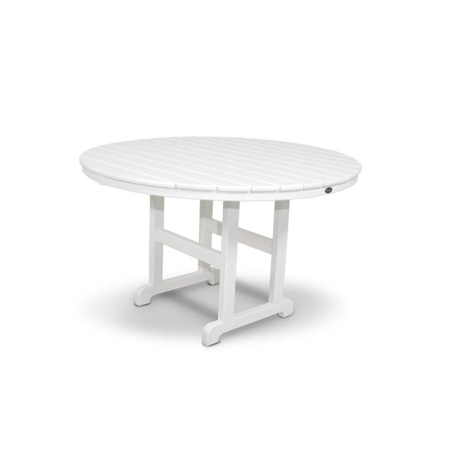 Bay 48 In Classic White Plastic Round Patio Dining Table At
