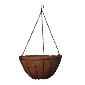 Garden Treasures 6.8-in H x 14-in W x 14-in D Green Metal Indoor/Outdoor Hanging Basket