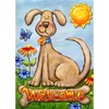Rain or Shine 18-in x 12.5-in Welcome Dog Flag