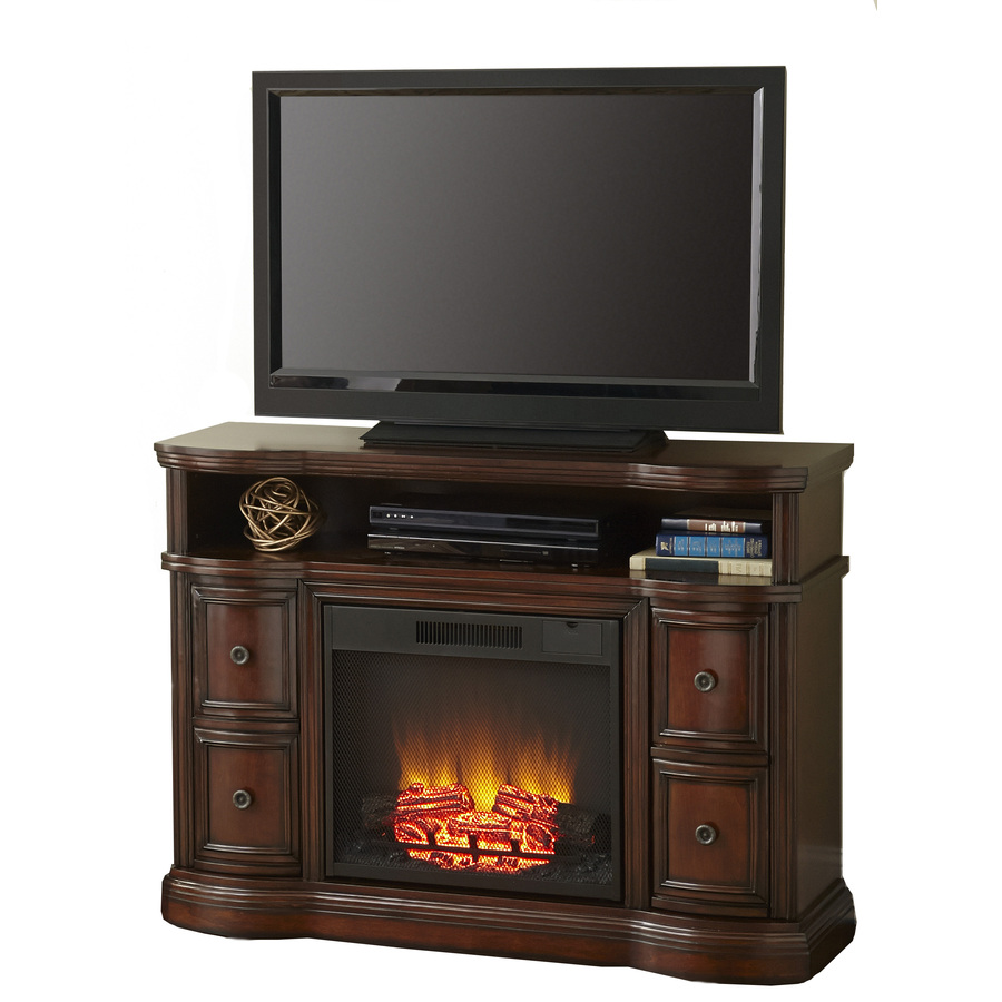 Shop Style Selections 48 In W 4 800 Btu Mink Wood Fan Forced Electric Fireplace With Remote