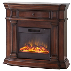 Style Selections 42-in W 4,800-BTU Sienna Wood Corner or Wall-Mount Electric Fireplace with Remote Control