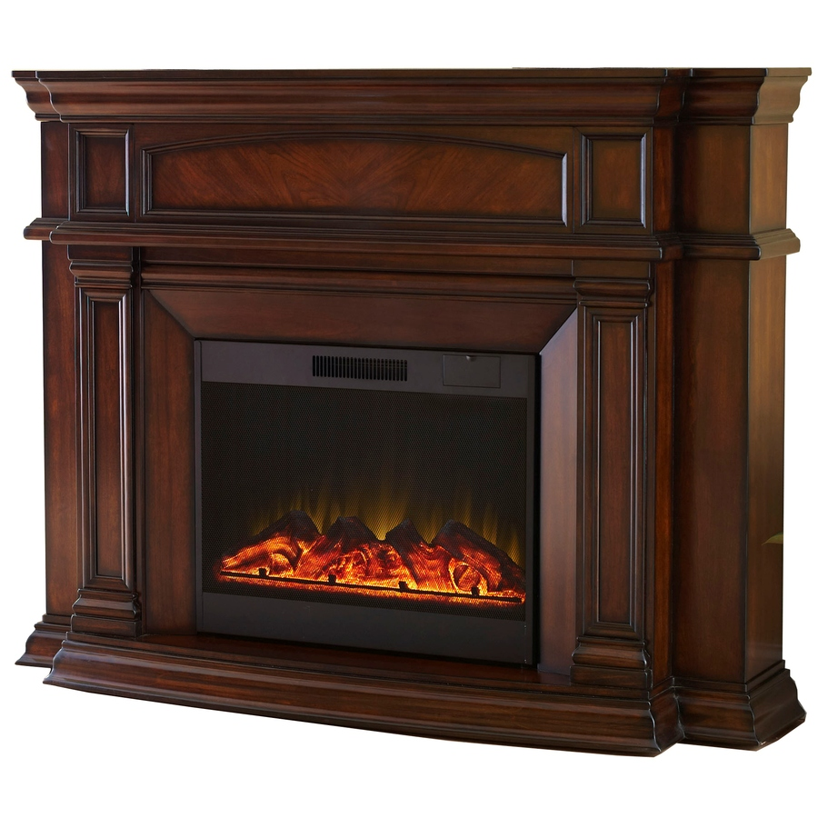 Shop Allen Roth 62 In W 4 800 Btu Mink Wood Wall Mount Electric Fireplace With Remote Control