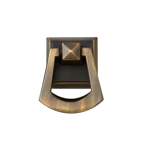"""Zoomed: Sumner Street 1-1/2"""" Vintage Brass Symmetry Square Cabinet Knob"""
