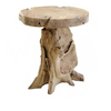 allen + roth 23.63-in x 23.63-in Natural Wood Round Patio Side Table