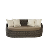 allen + roth Sylvan Park Wicker Patio Loveseat with Solid Tan and White Cushion