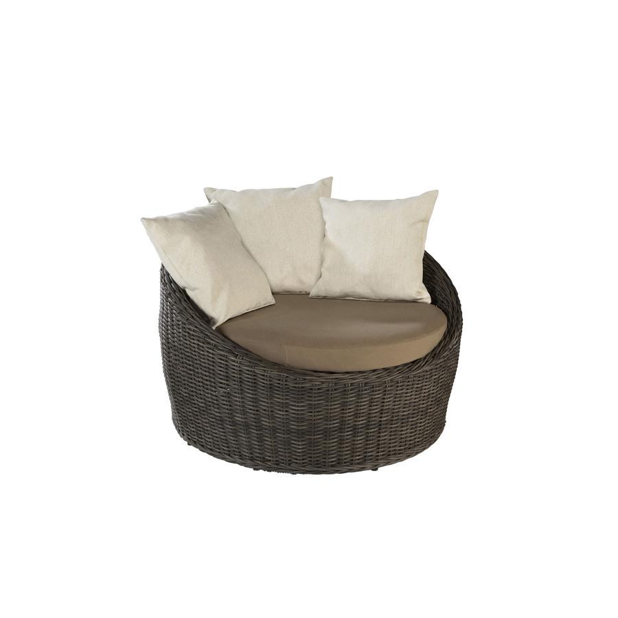 Shop Allen Roth Sylvan Park Brown Wicker Cushioned Patio Chair At