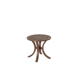 allen + roth Woodwinds 19.68-in x 19.68-in Rosewood Wood Round Patio Side Table