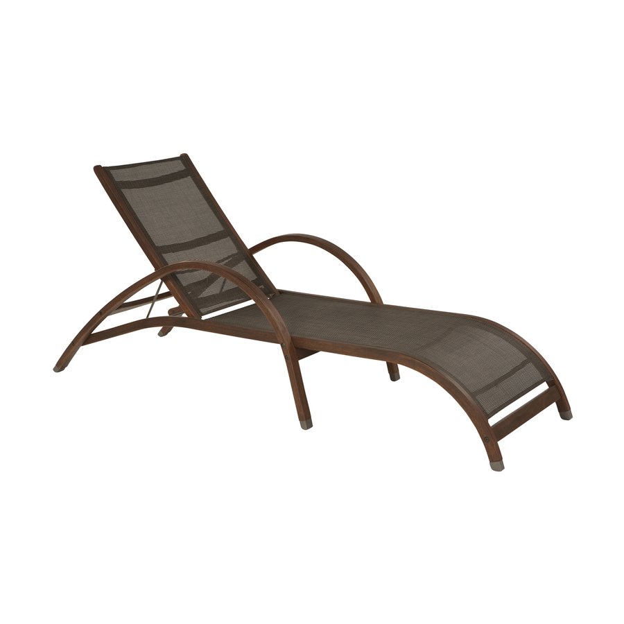 Shop allen roth woodwinds sling seat wood patio chaise for Allen roth steel patio chaise lounge