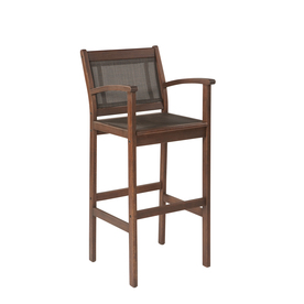 allen + roth Woodwinds Sling Seat Wood Patio Bar-Height Chair