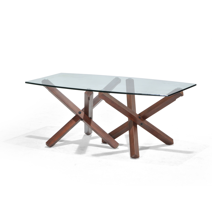 Shop allen roth hindon glass top rosewood rectangle for Outdoor dining table glass top