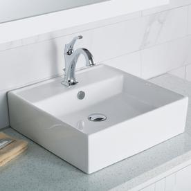 shop kraus ceramic white drop in square bathroom sink with