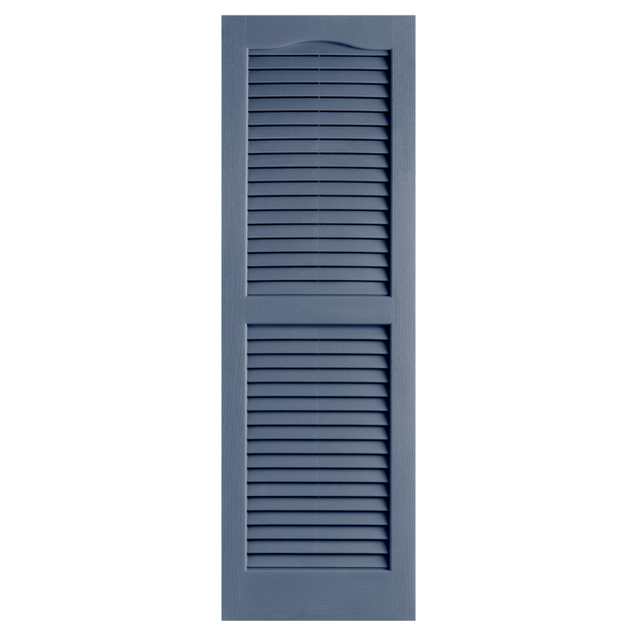 Shop Alpha 2 Pack Blue Louvered Vinyl Exterior Shutters Common 25 In X 14 I