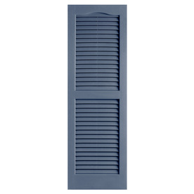 Shop Alpha 2 Pack Blue Louvered Vinyl Exterior Shutters Common 47 In X 14 I