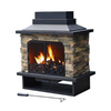 Sunjoy Black Steel Outdoor Wood-Burning Fireplace