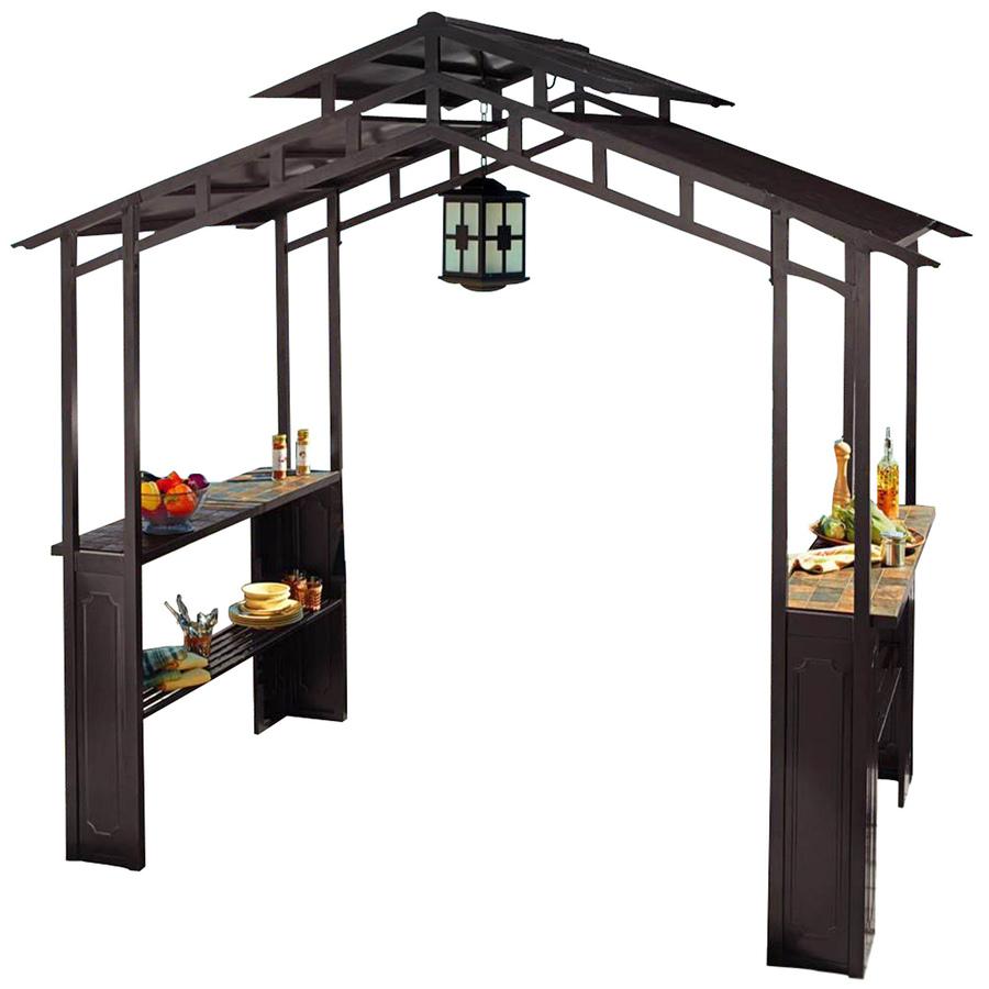 Shop Sunjoy 60-in x 96-in x 8.5-ft Steel Roof Black