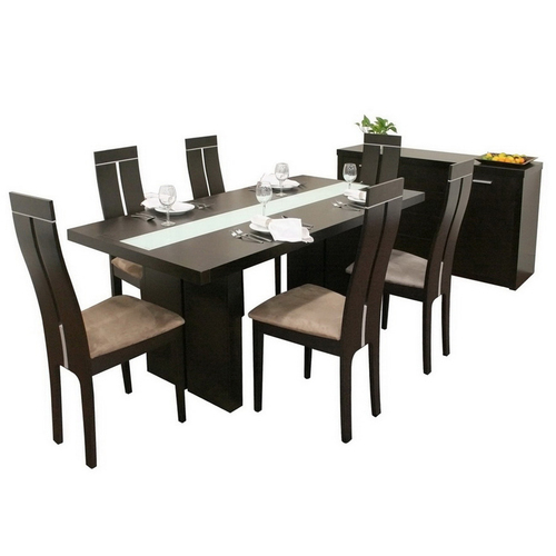 Modern baxton studio stockton magness dining set from for Dining room tables lowes