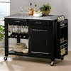 Baxton Studio Black Rectangular Kitchen Cart