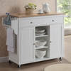 Baxton Studio White Rectangular Kitchen Cart