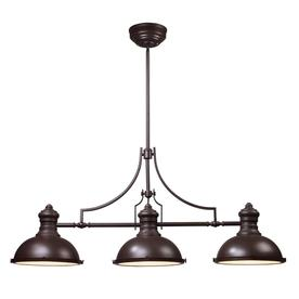 Westmore Lighting 13-in Chadwick 3-Light Oiled Bronze Island Light with Frosted Shade