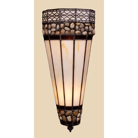 Shop Westmore Lighting 6-in W Stone Filigree 2-Light Burnished Copper Tiffany Style Pocket Wall ...