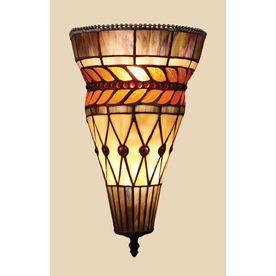 Lowes Tiffany Wall Sconces : Shop Westmore Lighting Glass Leaf 9-in W 2-Light Tiffany Bronze Tiffany-Style Pocket Hardwired ...