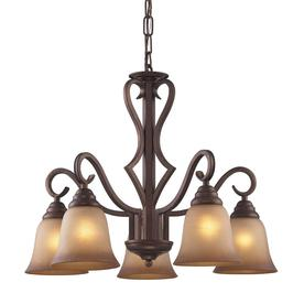 Westmore Lighting Laughlin 24-in 5-Light Mocha Tinted Glass Standard Chandelier