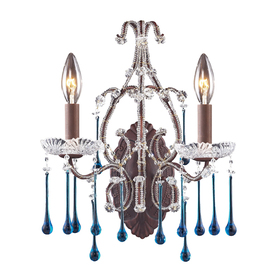 Westmore Lighting Opulence 12-in W 2-Light Rust Crystal Arm Hardwired Wall Sconce
