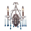 Westmore Lighting 12-in W Opulence 2-Light Rust Crystal Arm Wall Sconce