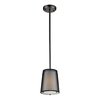 Westmore Lighting 7-in W Black Chrome Mini Pendant Light with Fabric Shade