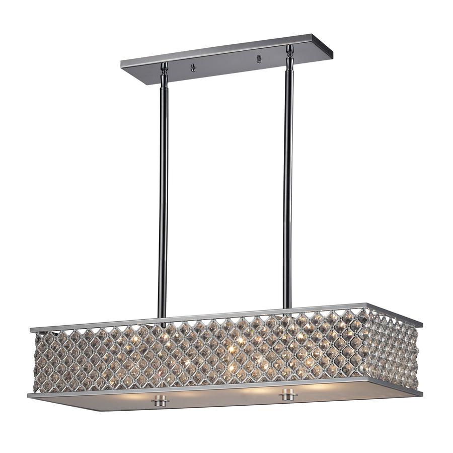 shop westmore lighting 31 in w 4 light polished chrome crystal kitchen island light with crystal