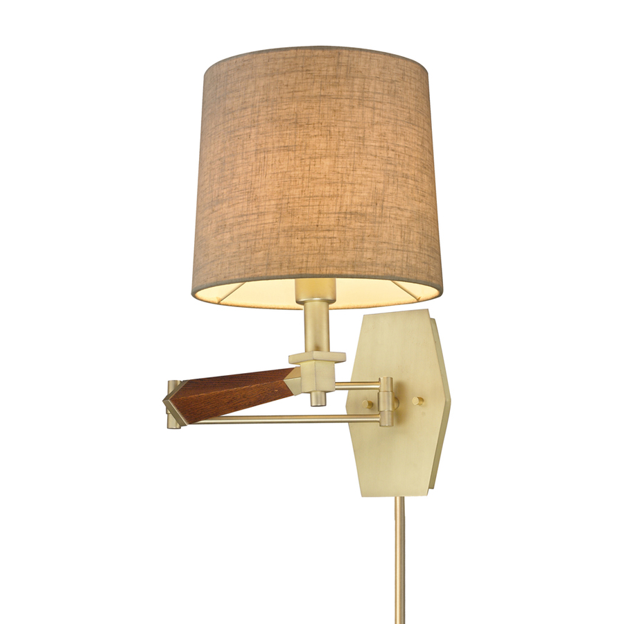 Shop Westmore Lighting 16-in H Satin Brass Swing-Arm Wall-Mounted Lamp with Fabric Shade at ...