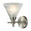 Westmore Lighting Coshocton Brushed Nickel and White Marbleized Glass LED Bathroom Vanity Light