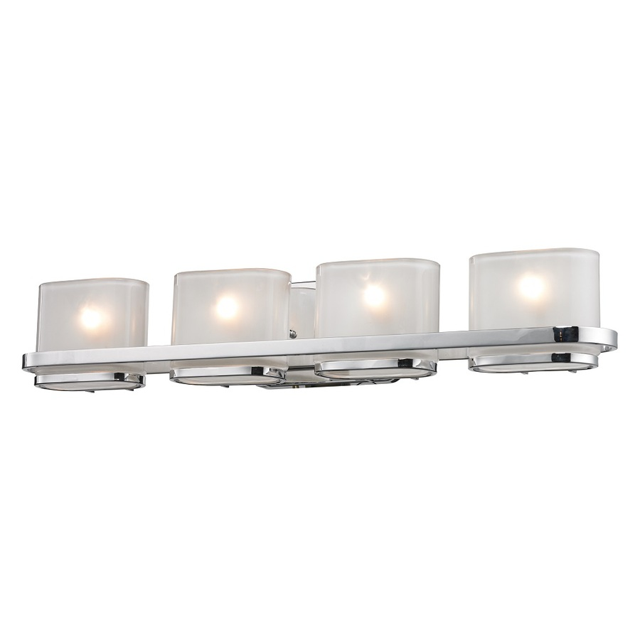 Vanity Light Bar Chrome : Shop Westmore Lighting 4-Light Morrow Polished Chrome with Translucent Frosted Glass Bathroom ...